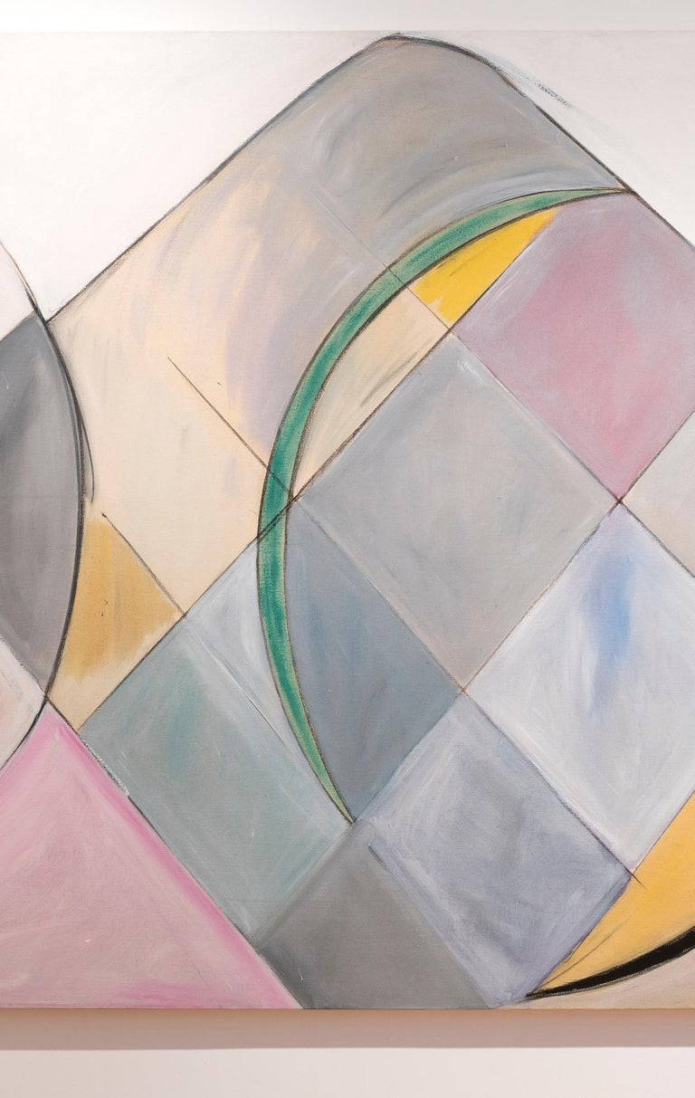Court Ceremony (triptych - work in 3 panels) - Gray Abstract Painting by Frances Barth