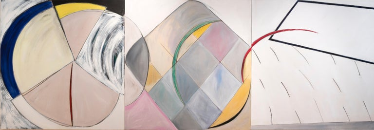 Frances Barth Abstract Painting - Court Ceremony (triptych - work in 3 panels)