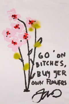 Buy Yer Own Flowers - Contemporary Painting - Ink & Acrylic on Paper - Pink