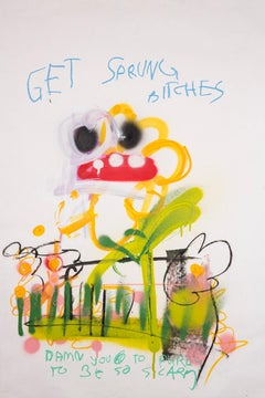 Get Sprung, Bitches - Acrylic and oil pastel on paper, flower with hooray face