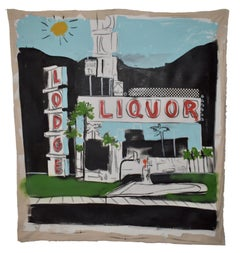 Liquor Store -  Acrylic Painting of California landscape on Un-stretched Canvas