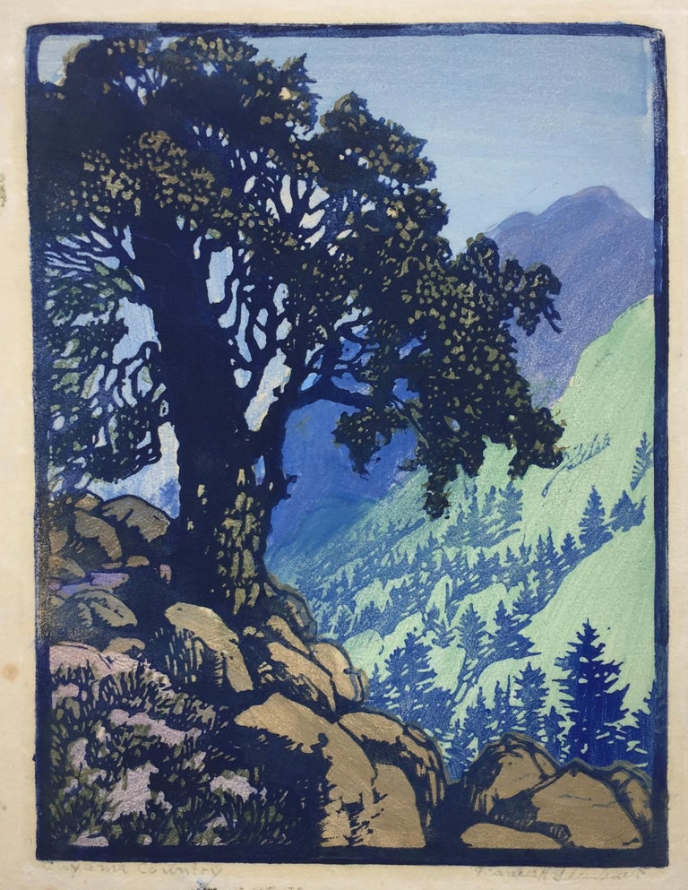 CUYAMA COUNTRY (Unique state) - Purple Landscape Print by Frances H. Gearhart