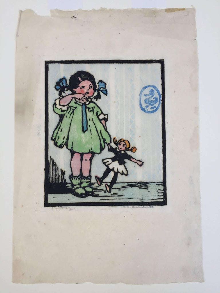 """FRANCES H. GEARHART and sisters  PATTY 1928           Color block print.  Titled and signed  """"the Gearharts"""" in Frances H. Gearhart's  hand. This is an            original color block print from  """"Let's Play"""", an intended but unpublished children's"""