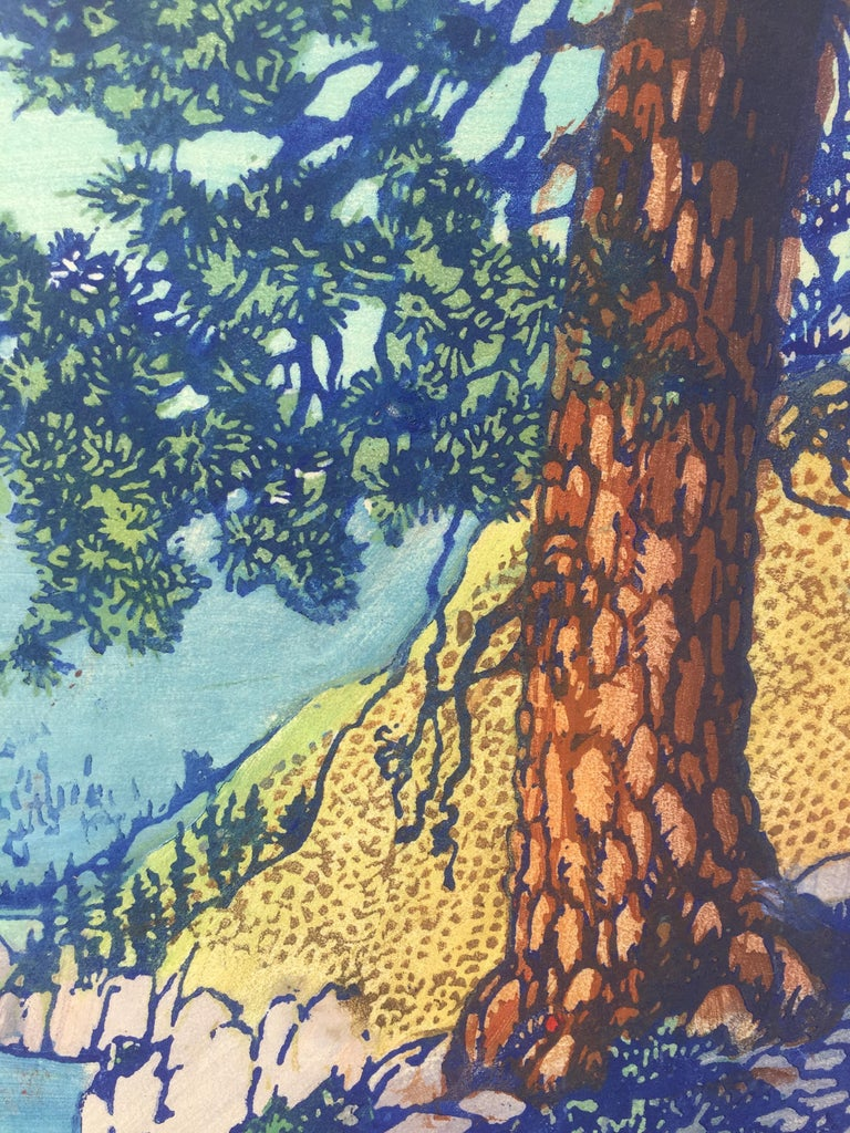 FRANCES H. GEARHART (1869-1958)  THE OLD PINE (aka Big Pine) c. 1930-32 Color block print signed and titled in pencil. 11 1/2 x 10 inches. Scarce image. Full margins with the usual tack holes along the right sheet edge used for printing,  A bit of