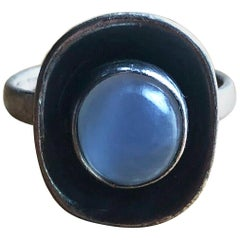 Frances Holmes Boothby Sterling Silver Moonstone American Modernist Ring