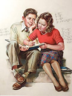 Girl Helping Admiring Boy with his Math Homework