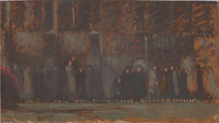 Frances Watt - Mid 20th Century Oil, Field of Remembrance, Westminster Abbey - Post-War Painting by Frances Watt
