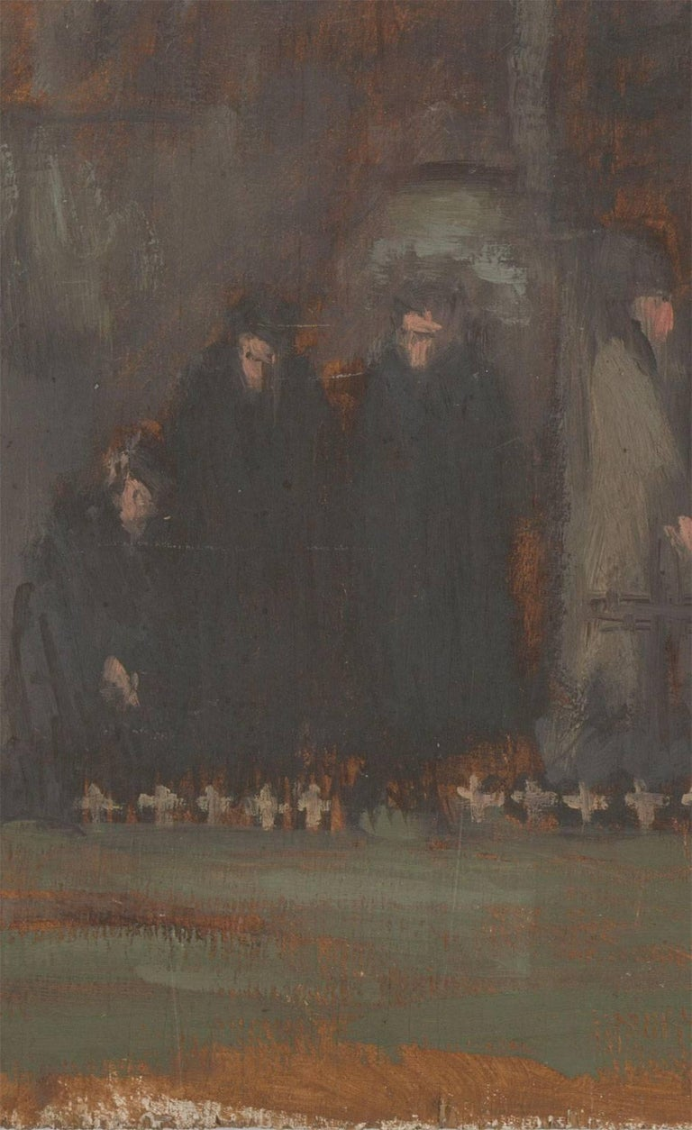 A sombre and atmospheric depiction of a group of mourners at the Field of Remembrance, Westminster Abbey. Inscribed on the reverse.On board.  Image size: 29.7 x 55.7cm (11.7