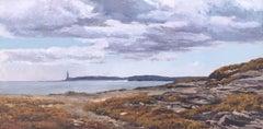 Backlight Lighthouse of Favaritx Menorca oil on canvas painting