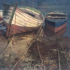 Boats on the beach Menorca Spain oil on canvas painting