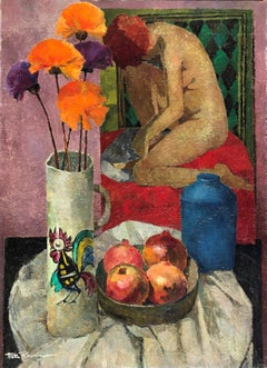 Still life with nude oil on canvas painting