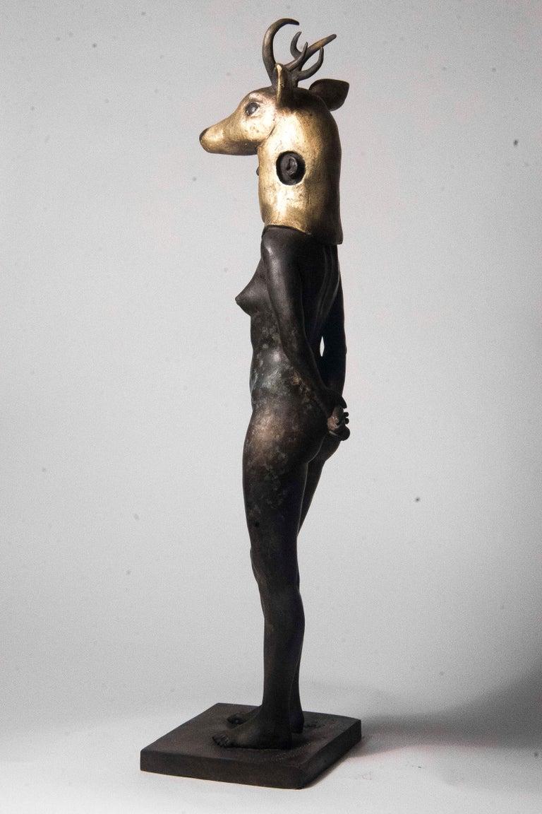 Deer Woman - Bronze - Unique Signed Sculpture - Francesca Dalla Benetta For Sale 8