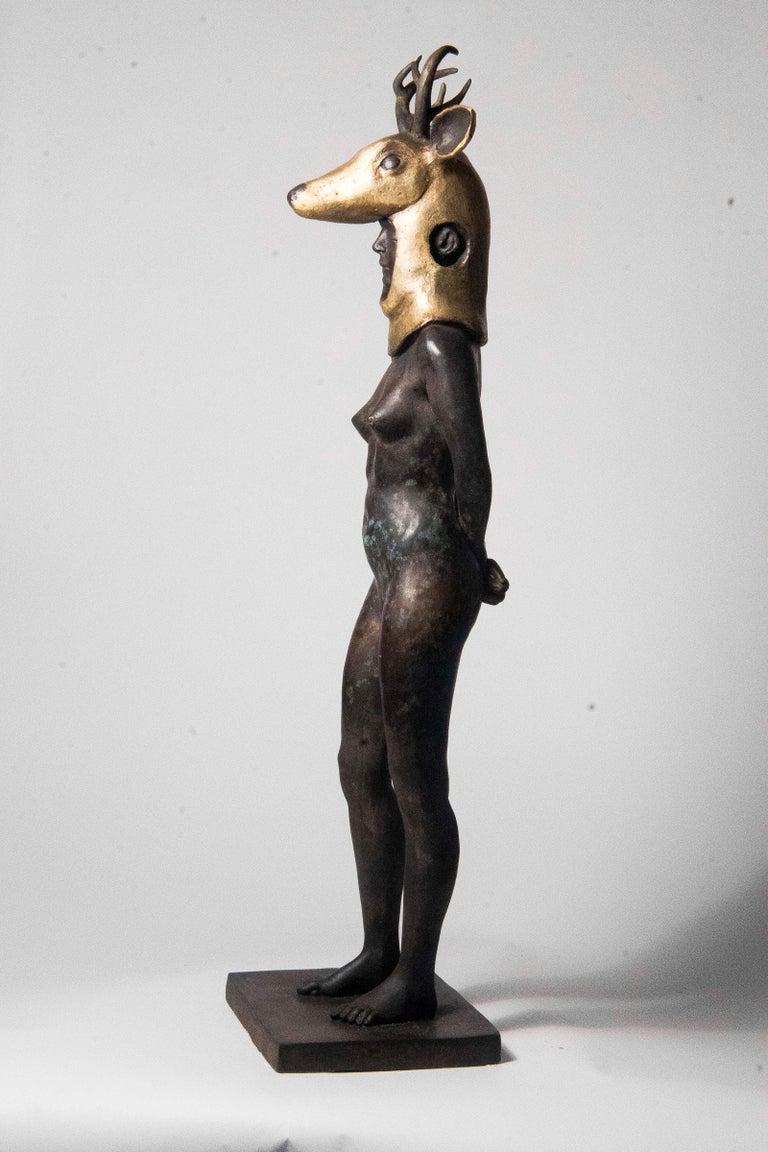 Deer Woman - Bronze - Unique Signed Sculpture - Francesca Dalla Benetta For Sale 9