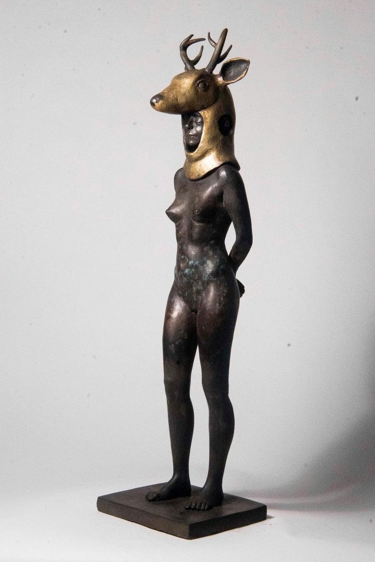 Deer Woman - Bronze - Unique Signed Sculpture - Francesca Dalla Benetta For Sale 10