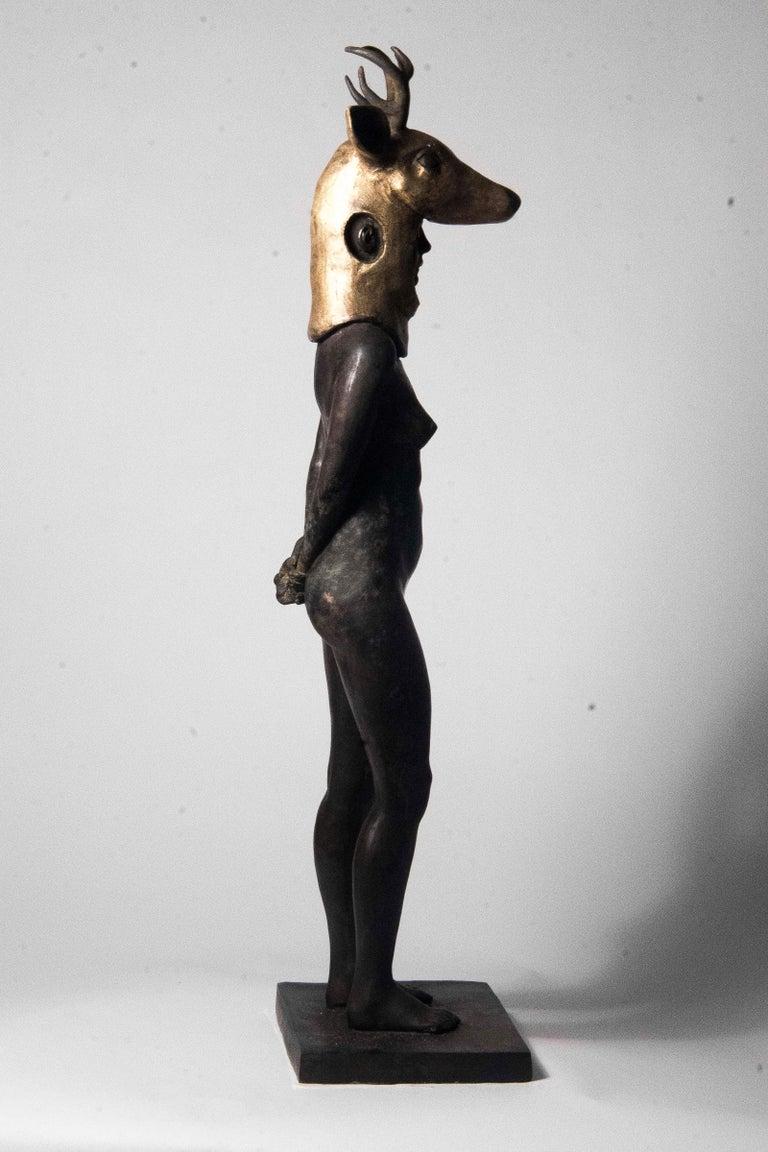 Deer Woman - Bronze - Unique Signed Sculpture - Francesca Dalla Benetta For Sale 3