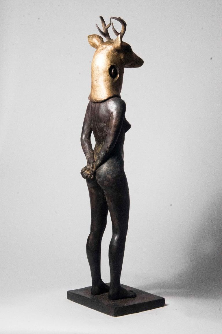 Deer Woman - Bronze - Unique Signed Sculpture - Francesca Dalla Benetta For Sale 4