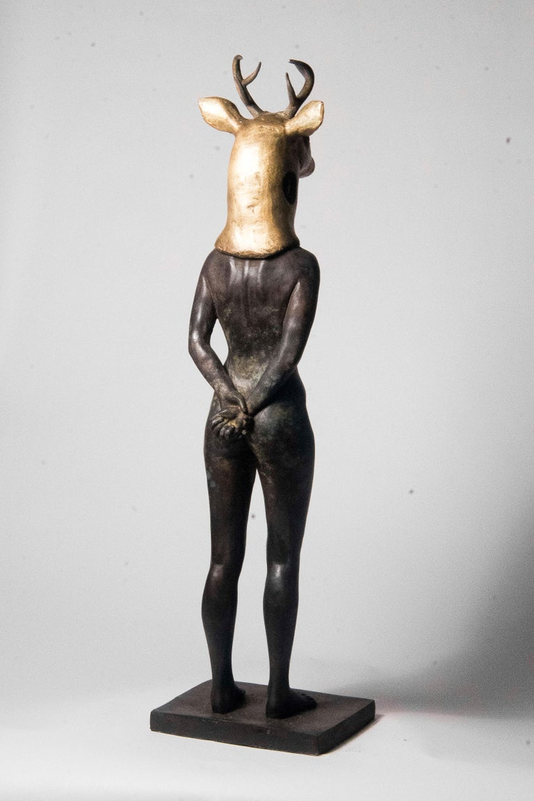 Deer Woman - Bronze - Unique Signed Sculpture - Francesca Dalla Benetta For Sale 5