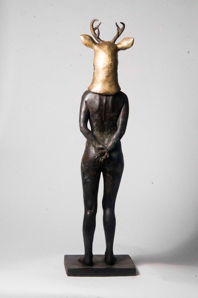 Deer Woman - Bronze - Unique Signed Sculpture - Francesca Dalla Benetta For Sale 6