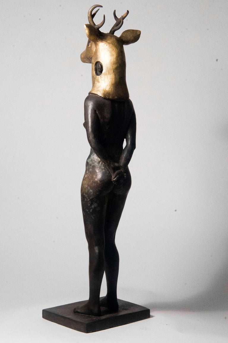 Deer Woman - Bronze - Unique Signed Sculpture - Francesca Dalla Benetta For Sale 7