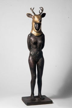 Deer Woman - Bronze - Unique Signed Sculpture - Francesca Dalla Benetta