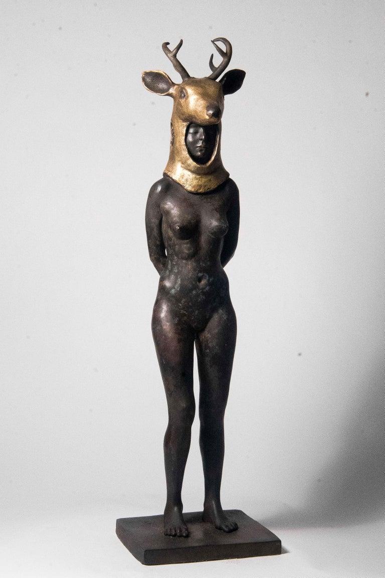 Deer Woman - Bronze - Unique Signed Sculpture - Francesca Dalla Benetta - Gold Still-Life Sculpture by Francesca Dalla Benetta