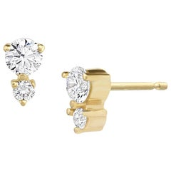Francesca Diamond Earrings in 14 Karat Gold by White/Space Jewelry