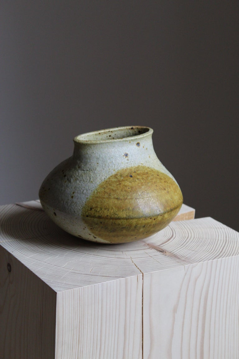 Mid-20th Century Francesca Lindh, Studio Vase, Glazed & Painted Stoneware, Arabia, Finland, 1955 For Sale
