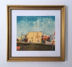 Commute, colorful cityscape & sky, gouache & colored pencil on paper, gold frame