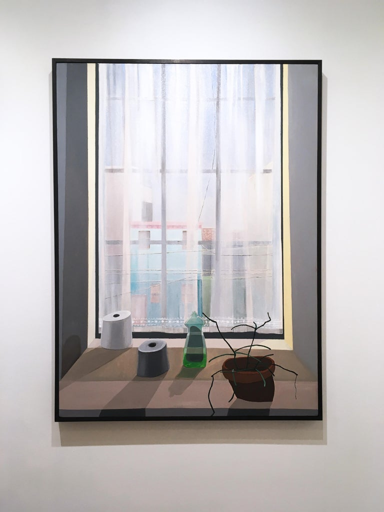 Ledge, still life oil painting, interior, window, architecture, cityscape, plant - Painting by Francesca Reyes