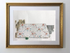 Mattress Study, still life pink floral watercolor painting on paper, gold frame