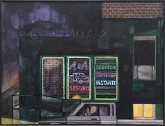 Night Drive, city night scene with neon signs & pickup truck, gouache on paper