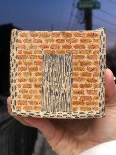 Brick House, Blue Tarp, Ceramic Sculpture, Glaze, Earth tones, Plant potter