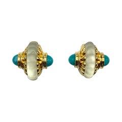 Francesca Romana Carved Rock Crystal Earrings, 1990s