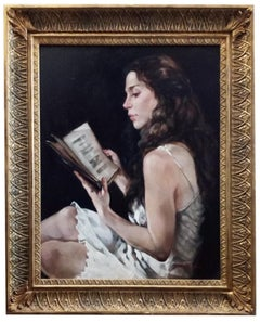 MY SECRET BOOK - Francesca Strino Italian figurative oil on canvas painting
