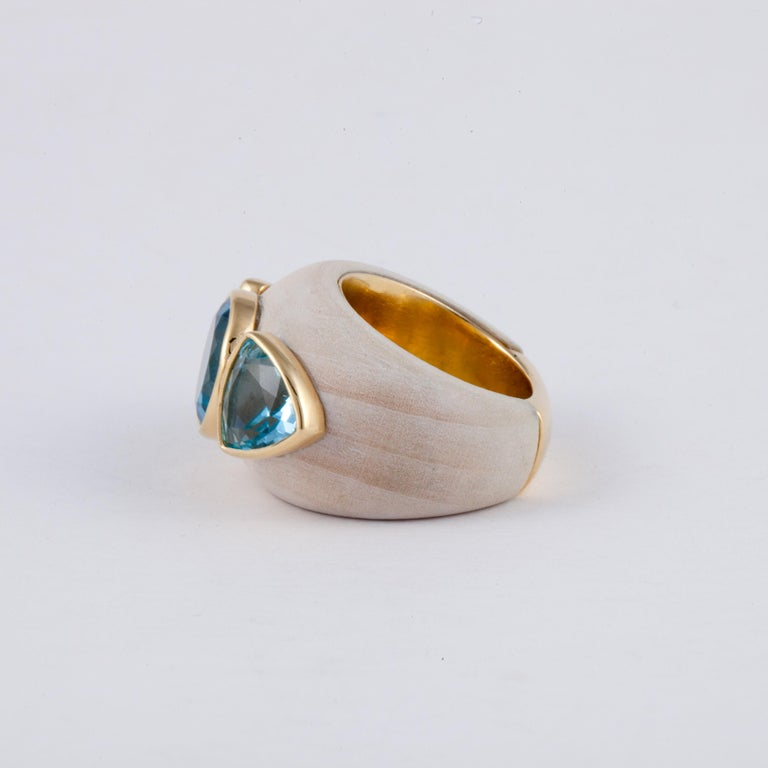 Francesca Visconti Wood and Topaz Ring In Good Condition For Sale In Houston, TX