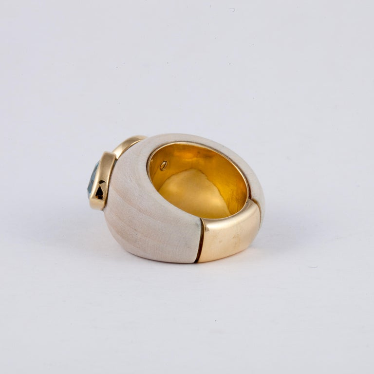 Women's or Men's Francesca Visconti Wood and Topaz Ring For Sale