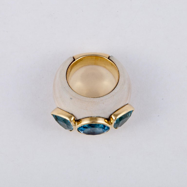 Francesca Visconti Wood and Topaz Ring For Sale 2