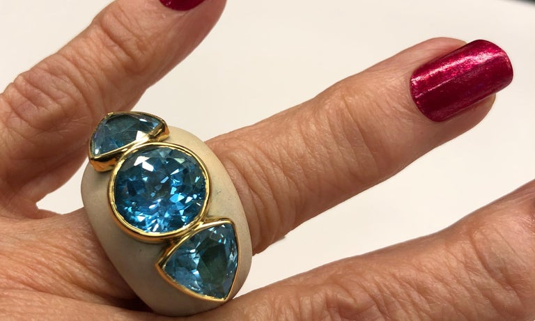 Francesca Visconti Wood and Topaz Ring For Sale 4