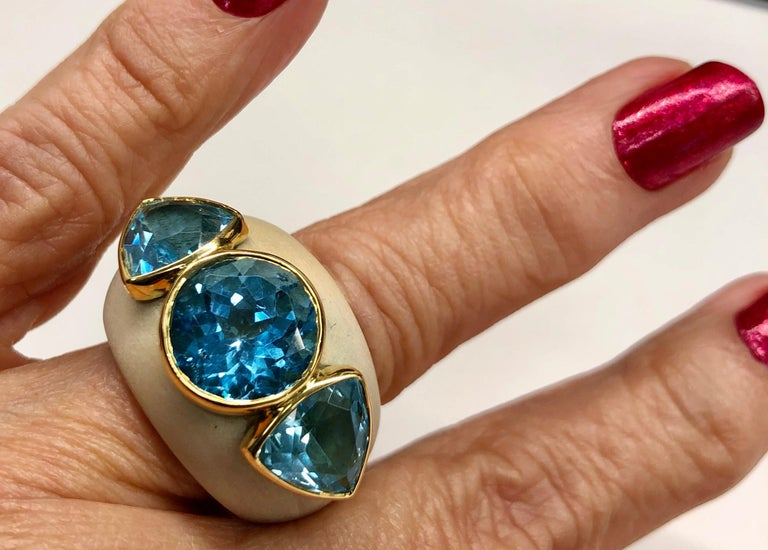 Francesca Visconti Wood and Topaz Ring For Sale 5