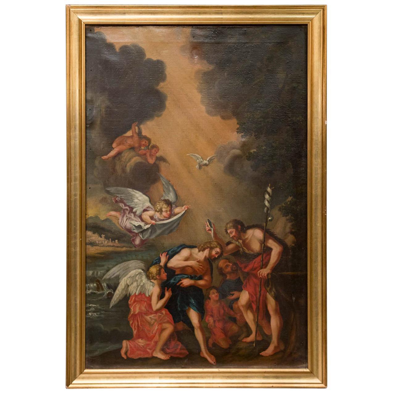 Francesco Albani follower Italian Framed Oil on Canvas Baptism of Christ