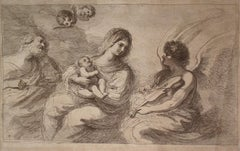 F. Bartolozzi (1727-1815) After Guercino, Holy Family and Angel Playing Violin