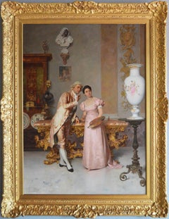 19th Century genre oil painting of a lady and gentleman