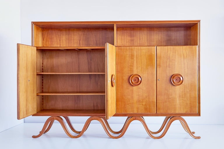 Francesco Bisacco Cabinet in Cherrywood, Turin, Italy, 1940s For Sale 4