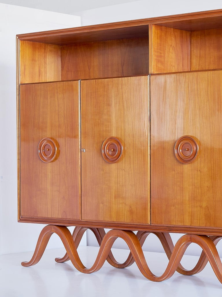 Francesco Bisacco Cabinet in Cherrywood, Turin, Italy, 1940s For Sale 1