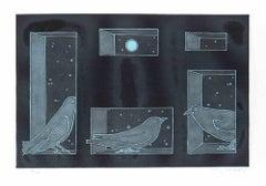 Birds - Original Lithograph by Francesco Casorati - Late 20th century