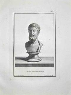 Ancient Roman Bust - Etching by Francesco Cepparoli - Late 18 Century