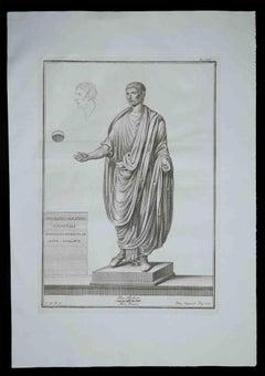 Ancient Roman Statue - Original Etching by Francesco Cepparoli - 1700s