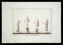 Ancient Roman Statues - Original Etching by Francesco Cepparoli - 1700s
