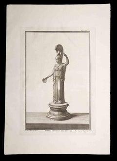 Athena Goddess - Original Etching by Francesco Cepparoli - 18th Century