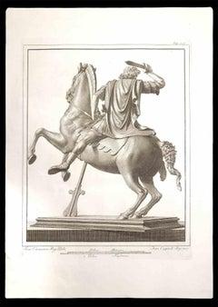 Legionnaire Riding a Horse - Etching by Francesco Cepparoli - 18th Century